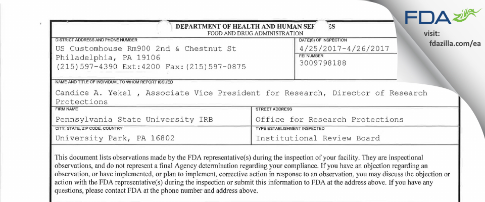 Pennsylvania State University IRB FDA inspection 483 Apr 2017
