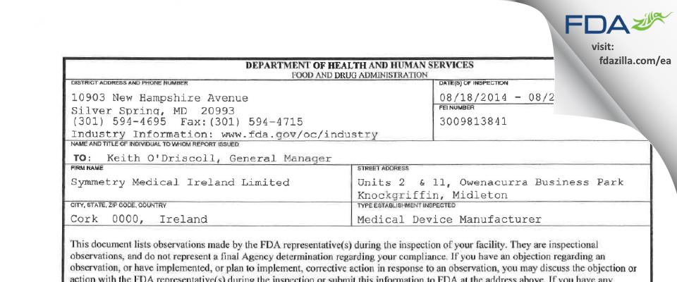 Symmetry Medical Ireland FDA inspection 483 Aug 2014