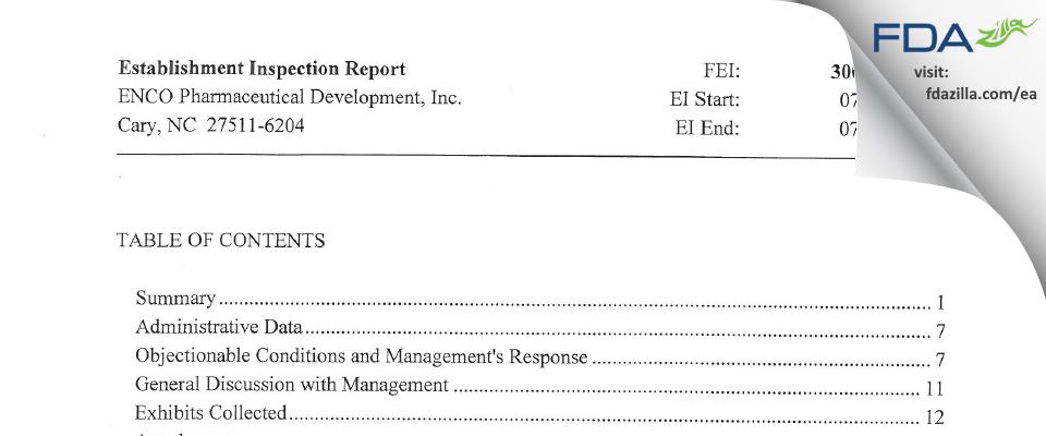 ENCO Pharmaceutical Development FDA inspection 483 Jul 2014
