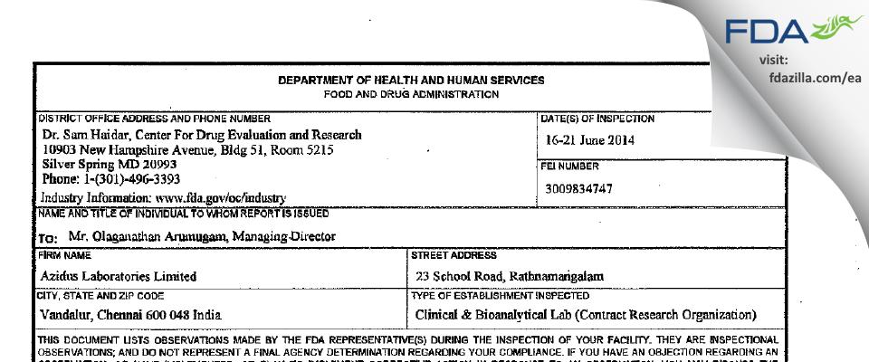 Azidus Labs FDA inspection 483 Jun 2014