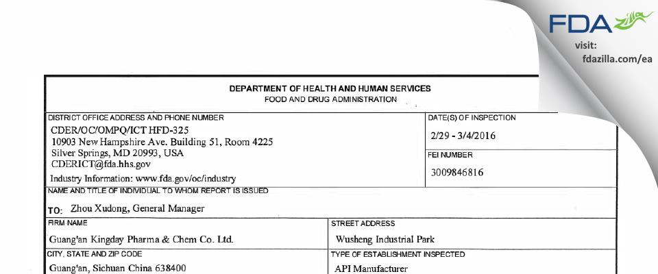 Guang'an Kingday Pharma & Chem FDA inspection 483 Mar 2016