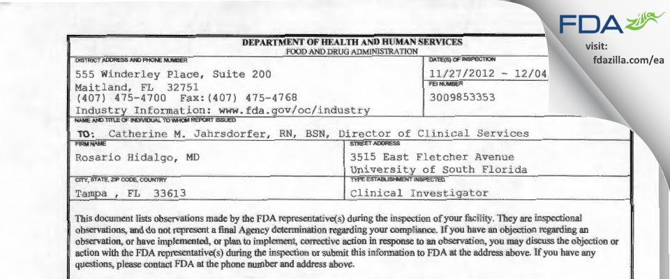 Rosario Hidalgo, MD FDA inspection 483 Dec 2012