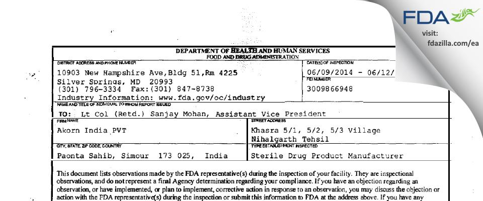 Akorn India PVT FDA inspection 483 Jun 2014