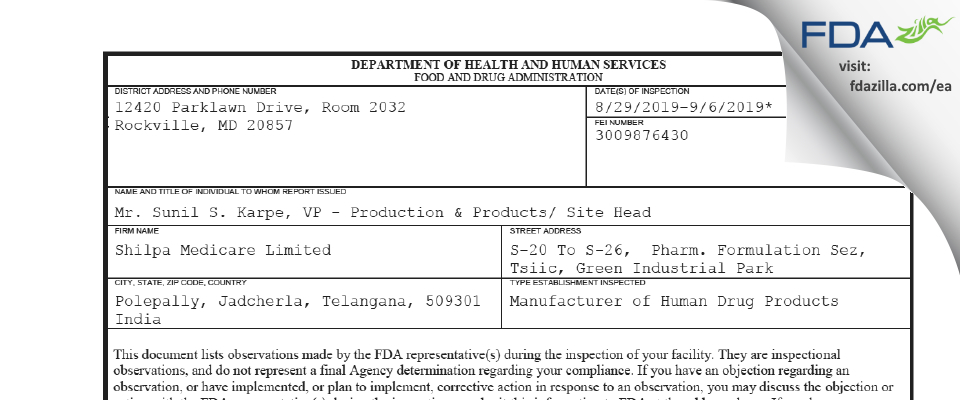 Shilpa Medicare FDA inspection 483 Sep 2019