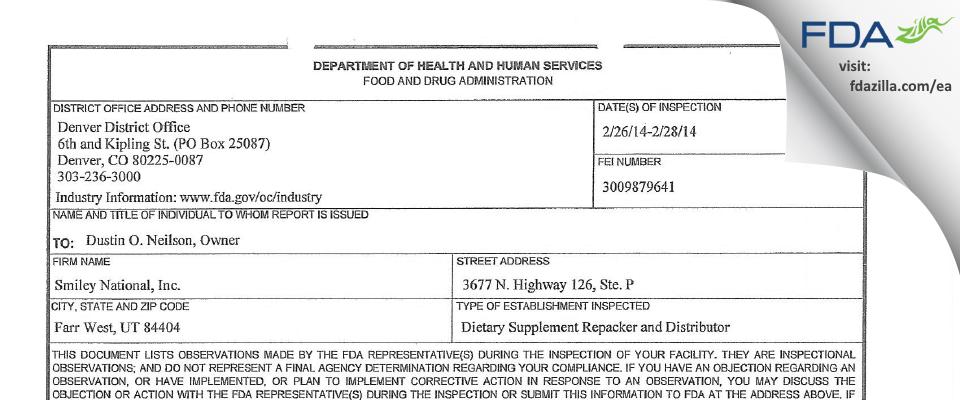 Smiley National FDA inspection 483 Feb 2014