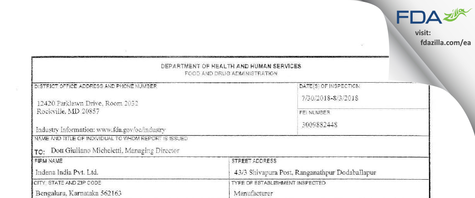 Indena India FDA inspection 483 Aug 2018