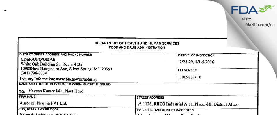 Auronext Pharma FDA inspection 483 Aug 2016