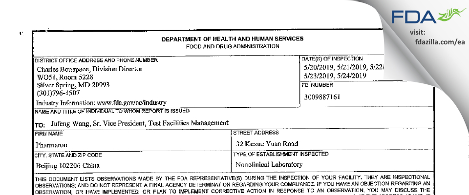 Pharmaron FDA inspection 483 May 2019