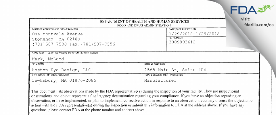 Boston Eye Design FDA inspection 483 Jan 2018