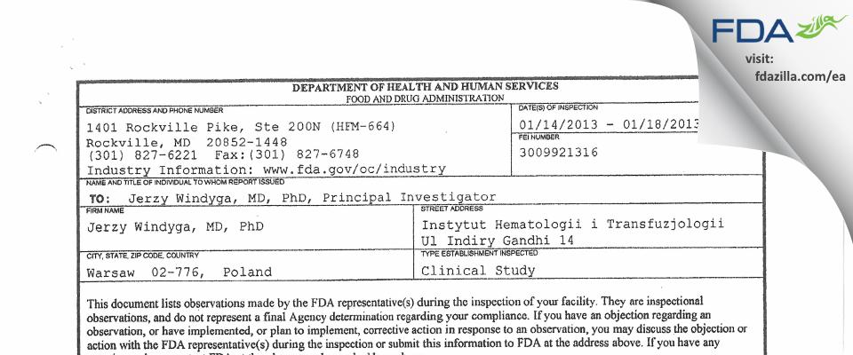 Jerzy Windyga, MD, PhD FDA inspection 483 Jan 2013