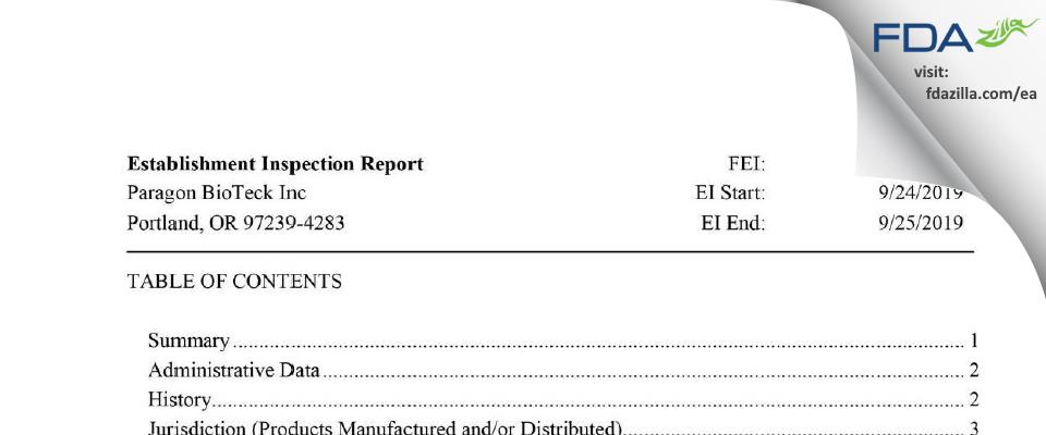 Paragon BioTeck FDA inspection 483 Sep 2019