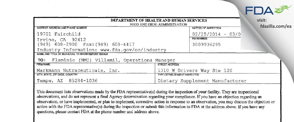 Markmann Nutraceuticals FDA inspection 483 Mar 2014