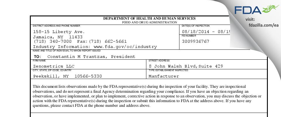 Zenometrics FDA inspection 483 Aug 2014