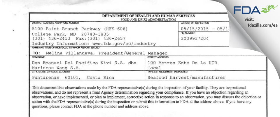 Don Emanuel Del Pacifico Nivi dba Mariscos Wang FDA inspection 483 May 2015