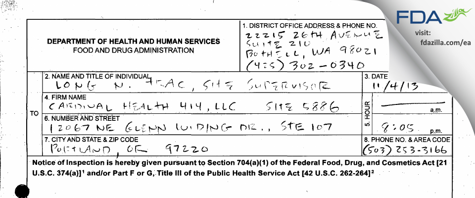 Cardinal Health 414 FDA inspection 483 Nov 2013