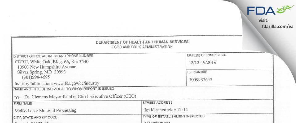 Meko FDA inspection 483 Jan 2017