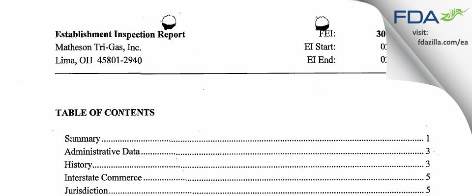 Matheson Tri-Gas FDA inspection 483 Feb 2014