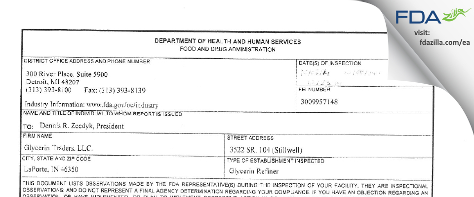 Glycerin Traders FDA inspection 483 Dec 2014
