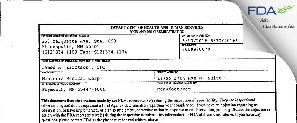 Monteris Medical FDA inspection 483 Jun 2016
