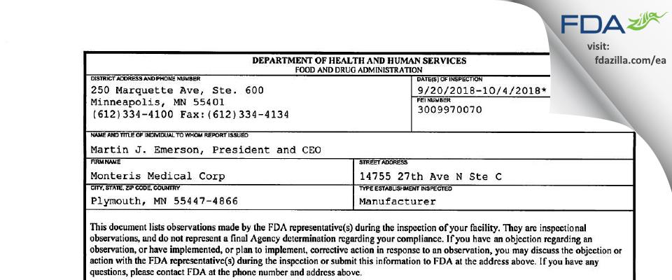 Monteris Medical FDA inspection 483 Oct 2018
