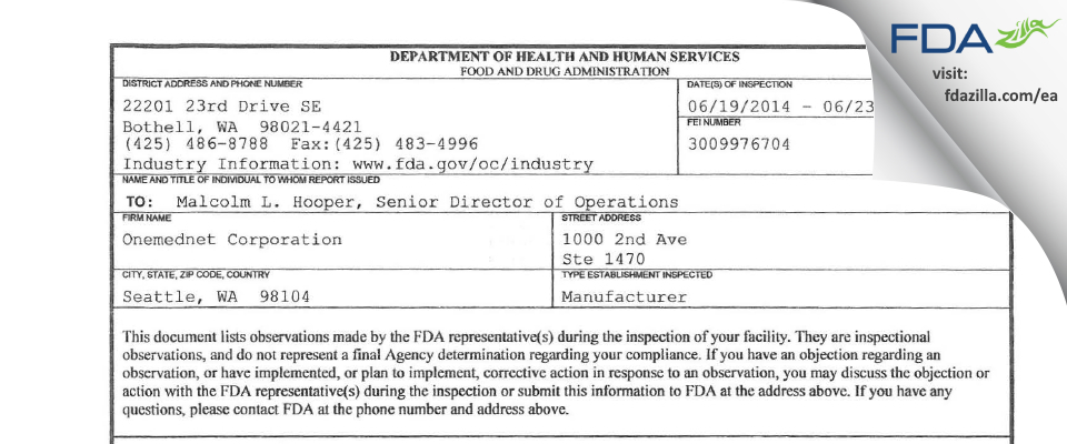 Onemednet FDA inspection 483 Jun 2014