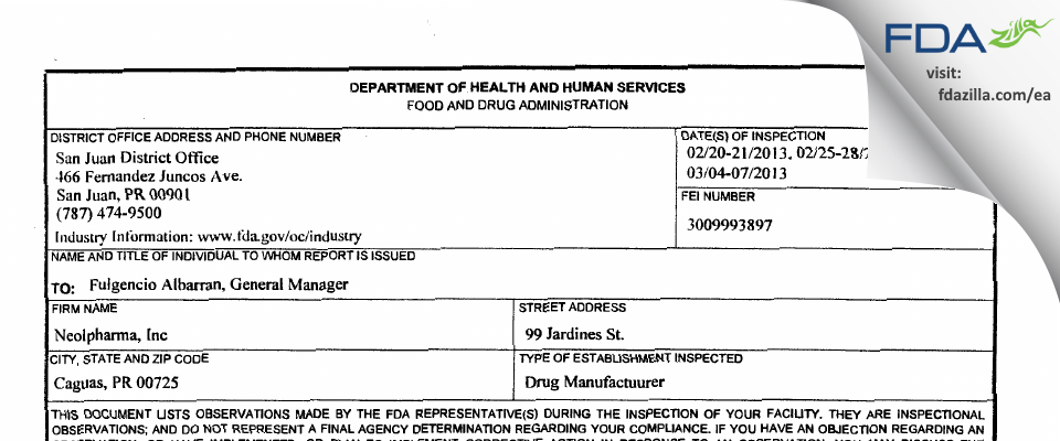 Neolpharma FDA inspection 483 Mar 2013