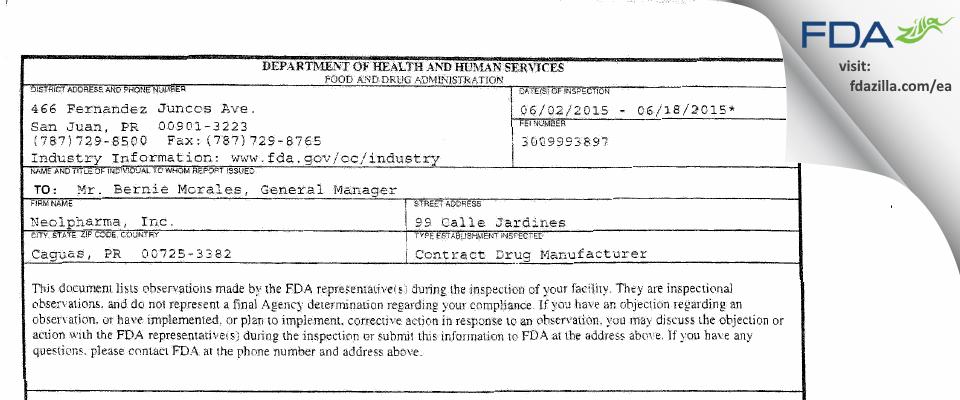 NEOLPHARMA,. FDA inspection 483 Jun 2015