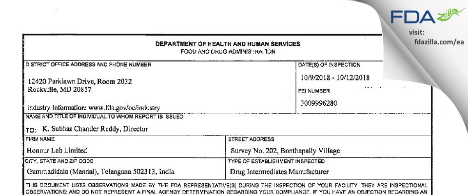Honour Lab FDA inspection 483 Oct 2018