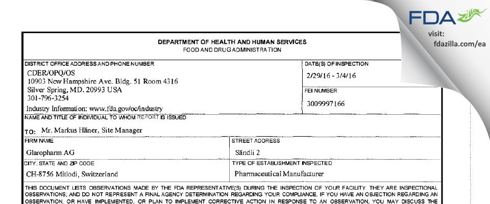 Glaropharm Ag FDA inspection 483 Mar 2016