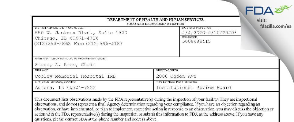 Copley Memorial Hospital FDA inspection 483 Feb 2020