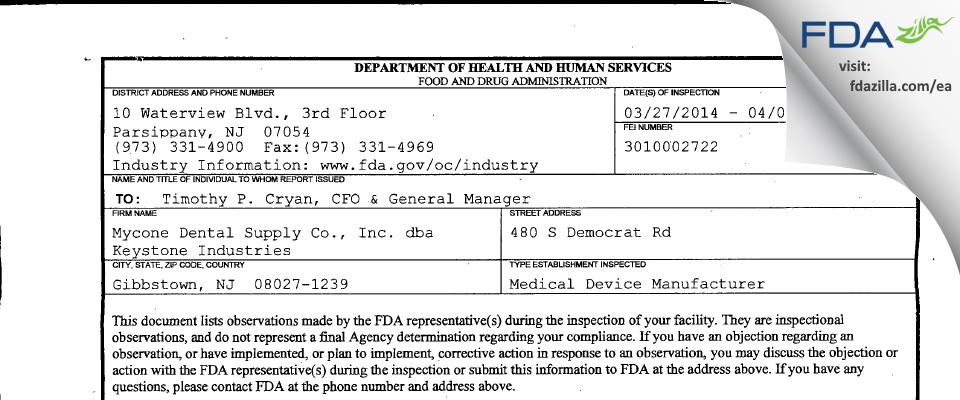 Mycone Dental Supply dba Keystone Industries FDA inspection 483 Apr 2014