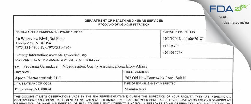 Appco Pharma FDA inspection 483 Nov 2018