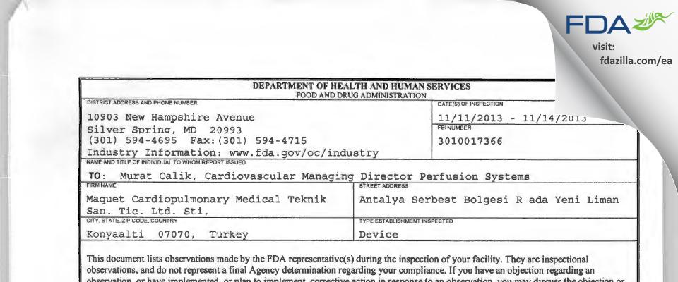 Maquet Cardiopulmonary Medical Teknik San. Tic. Sti. FDA inspection 483 Dec 2013