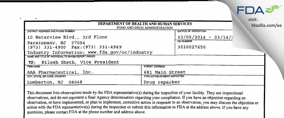AAA Pharmaceutical FDA inspection 483 Mar 2014