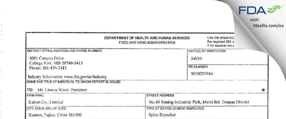 Kairun, FDA inspection 483 Mar 2019