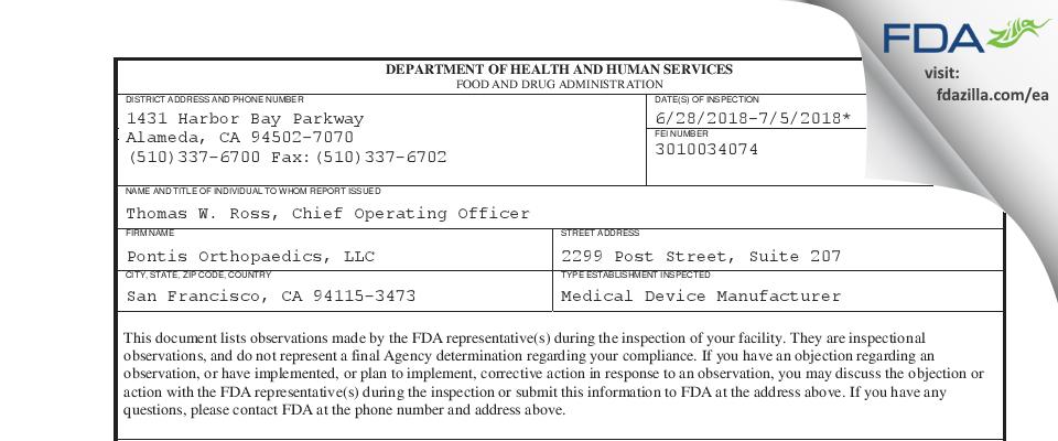 Pontis Orthopaedics FDA inspection 483 Jul 2018
