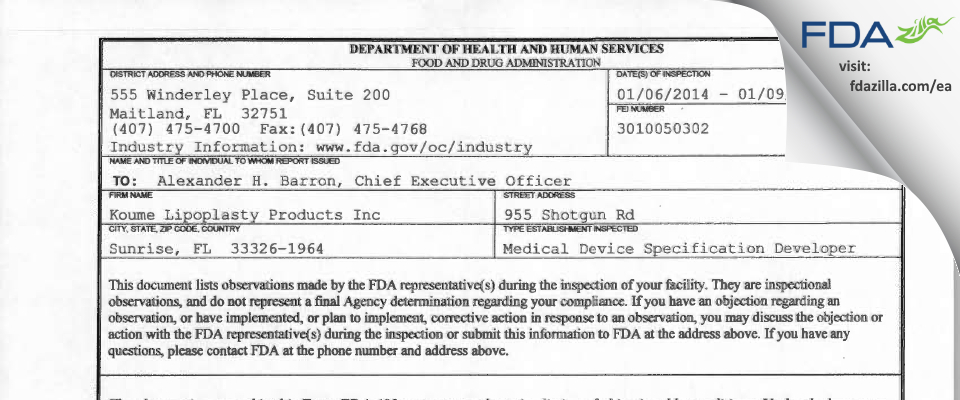 Koume Lipoplasty Products FDA inspection 483 Jan 2014