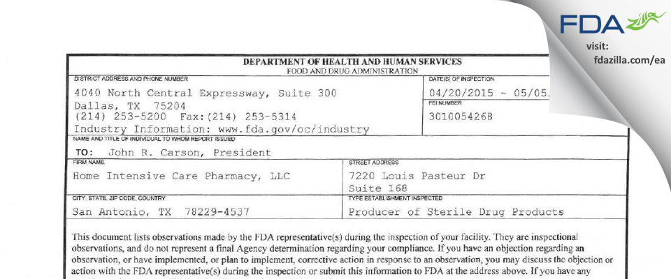 Home Intensive Care Pharmacy FDA inspection 483 May 2015