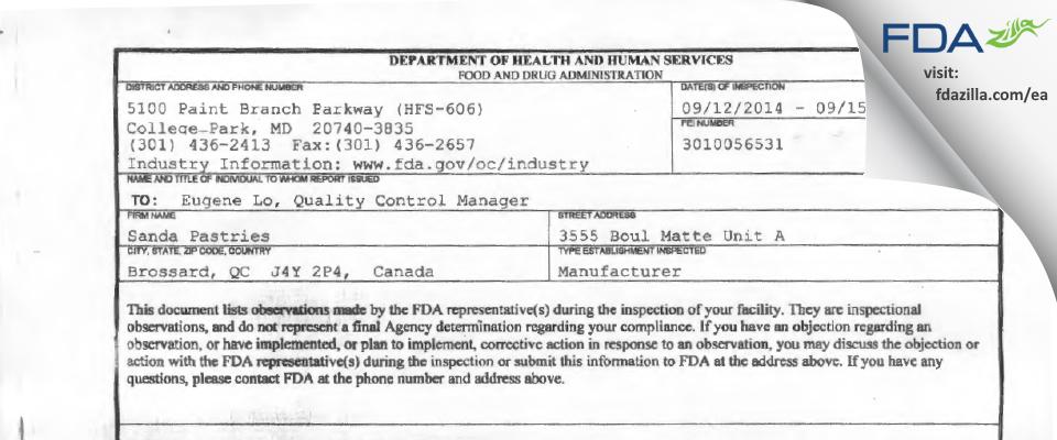 Sanda Pastries FDA inspection 483 Sep 2014