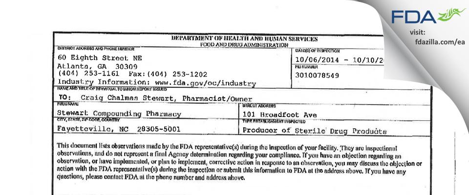 Stewart Pharmaceutical FDA inspection 483 Oct 2014