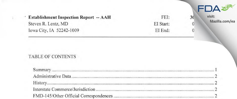Steven R. Lentz, M.D, Ph.D FDA inspection 483 Apr 2013