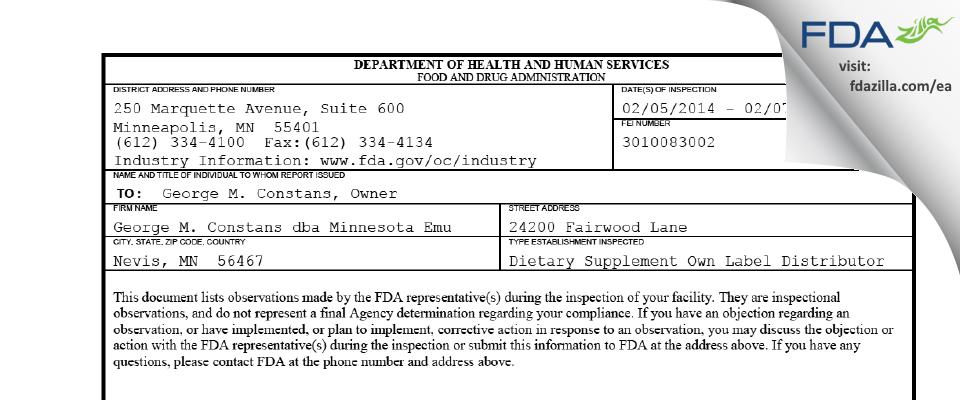 PA Constans - Minnesota Emu FDA inspection 483 Feb 2014