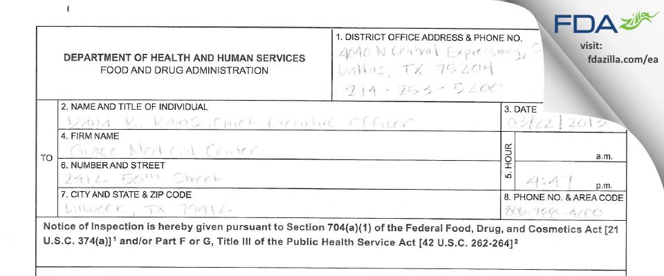Grace Medical Center FDA inspection 483 Mar 2013
