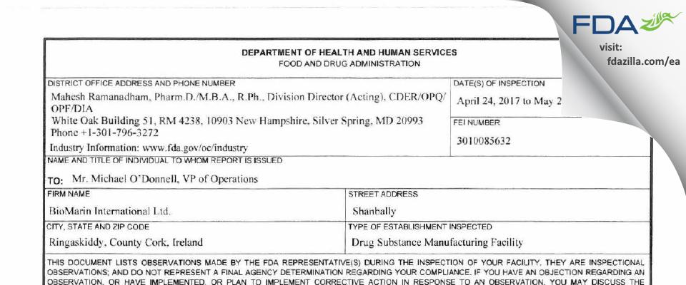 BioMarin International FDA inspection 483 May 2017