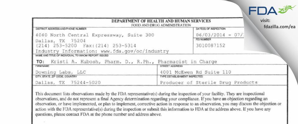 Downing Labs FDA inspection 483 Jul 2014