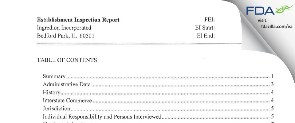 Ingredion FDA inspection 483 Jul 2015