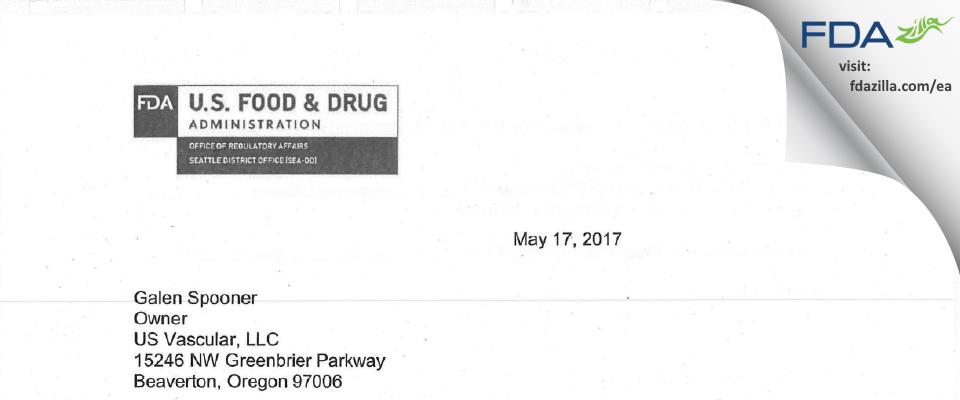 US Vascular FDA inspection 483 Apr 2017
