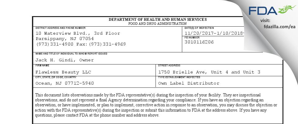 Flawless Beauty FDA inspection 483 Jan 2018