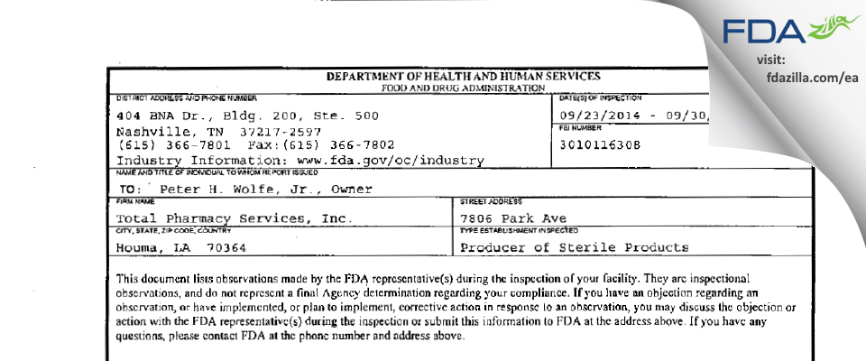 Total Pharmacy Services FDA inspection 483 Sep 2014