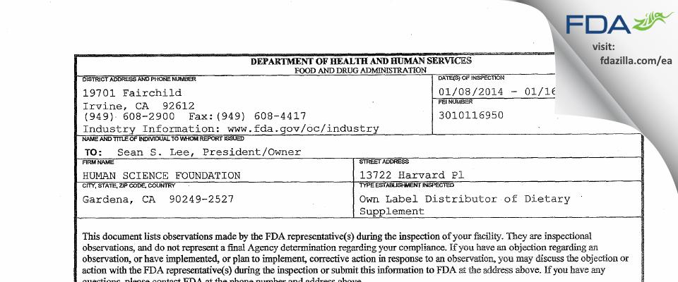 HUMAN SCIENCE FOUNDATION FDA inspection 483 Jan 2014